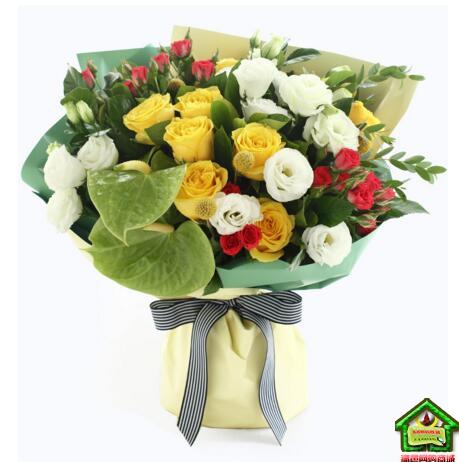 射手座守护花--红色多头玫4枝、黄玫瑰10枝、绿掌2枝 射手座鲜花定制款