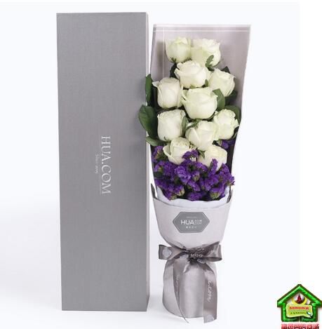真爱如初--雪山玫瑰11枝、深紫色勿忘我0.3扎