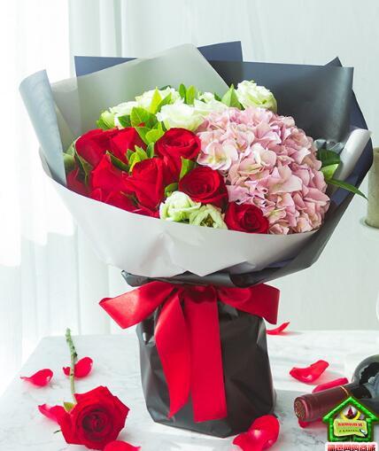怦然心动-红色玫瑰11枝、粉绣球1枝、绿色洋桔梗5枝