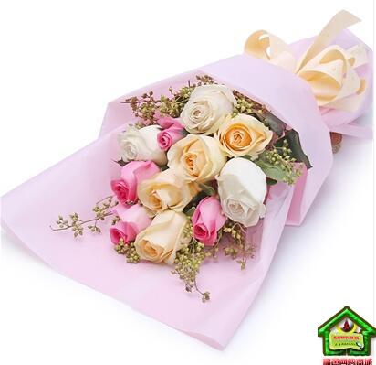 浪漫时光-11支混搭玫瑰 小米果