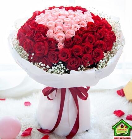 用心爱你--99枝:33枝戴安娜+66枝红玫瑰