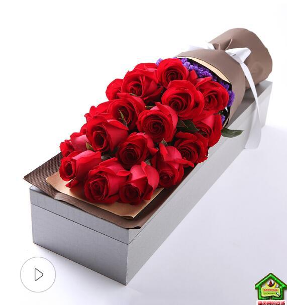 一往情深--精品玫瑰礼盒:19枝红玫瑰,勿忘我