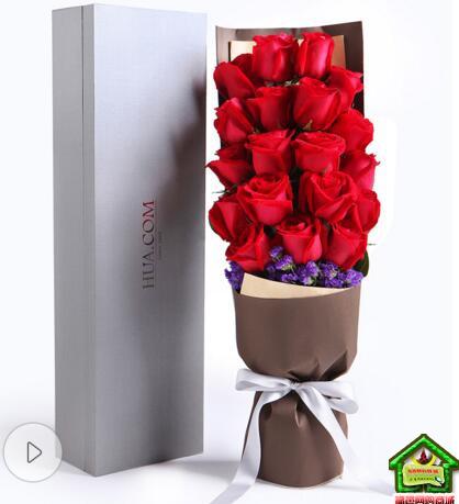 一往情深--精品玫瑰礼盒:19枝红玫瑰,勿忘我适量