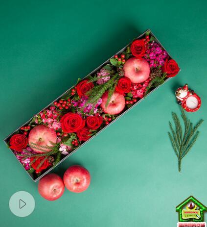 圣诞平安夜/苹果鲜花礼盒--精品红富士3个,卡罗拉玫瑰9枝