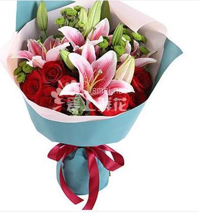 一生中挚爱 百合2枝,红玫瑰9枝
