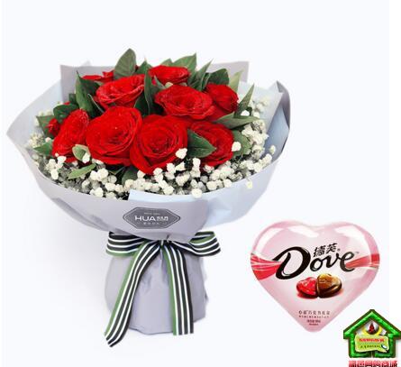只为爱你-11枝红玫瑰+德芙心语巧克力98克特价组合套装--红玫瑰11枝,满天星围绕