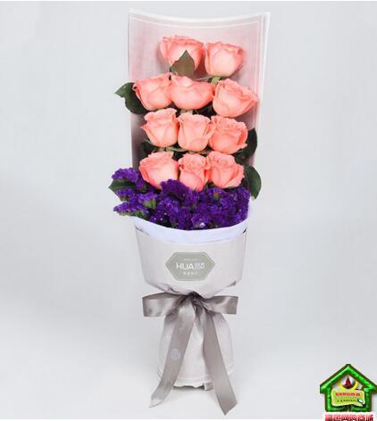 窈窕淑女--精品玫瑰礼盒:戴安娜11枝,勿忘我适量