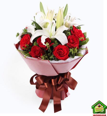 缘份--11枝红玫瑰,2枝多头白香水百合